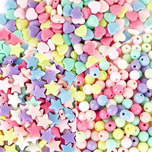 900 Pcs Acrylic Pastel Beads Loose Beads Round Star Heart Shape Beads Bulk Handmade Craft Beads for Hair Braiding DIY Bracelet Necklace Key Chain and Jewelry Making