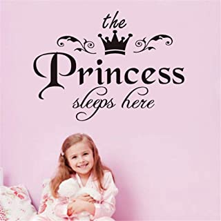 QISHENG The Princess Sleeps Here Wall Decal Vinyl Sticker for Kids Baby Girls Bedroom Decoration Nursery Home Decor Mural ...