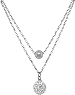 Bevilles Stainless Steel Crystal Ball Double Necklace