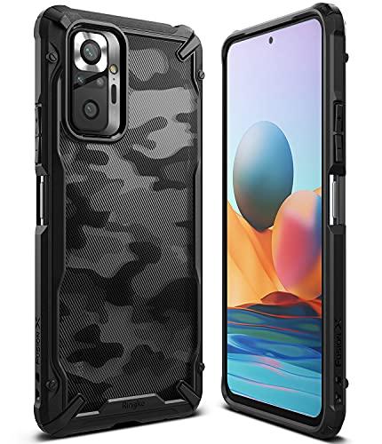 Ringke Fusion-X Kompatibel mit Xiaomi Redmi Note 10 Pro Hülle, Handschlaufe Loch mit Fingerabdruckfest 3D Militär Muster - Camo Black Schwarz