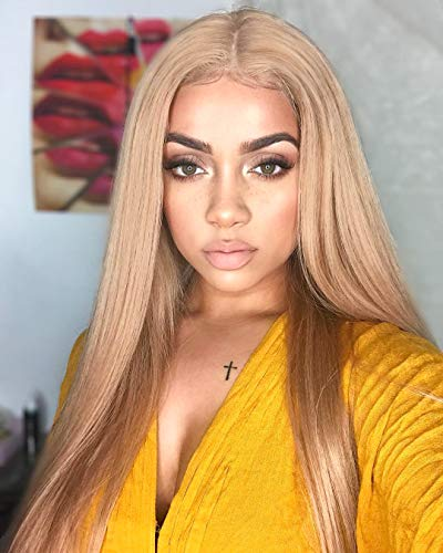 """FUHSI Kanekalon Synthetic Hair Real Natural For Women – Soft & Smooth, Tangle-Free Straight Lace Front Wig,Elastic Straps,Comfortable & Adjustable For Perfect Fit –103# Blonde 250D 22"""""""
