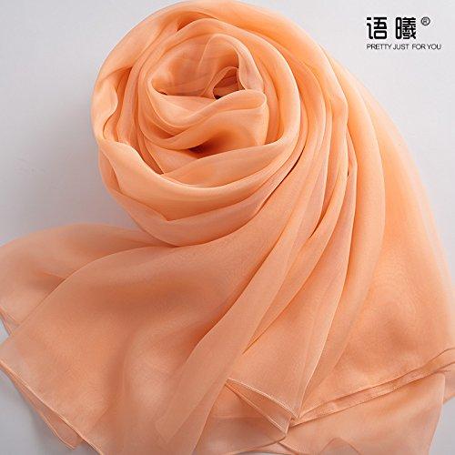 YRXDD Rose Orange 100% extrait d'herbes Longues écharpes en Soie Sauvage châle Femme Printemps et Automne, Long 250cm 135cm Largeur