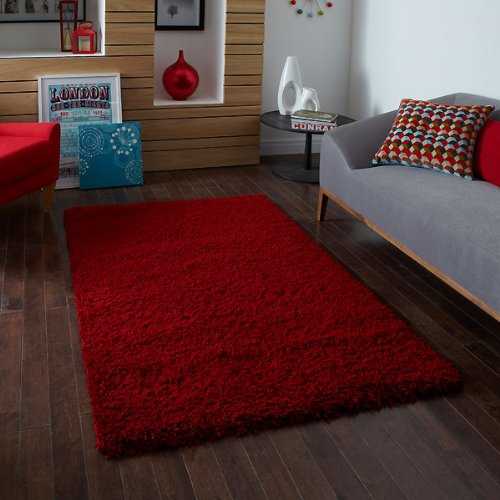 Think Rugs Vista 2236 Shaggy Teppich, 60 x 120 cm, Rot