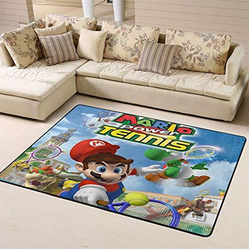 Zmacdk Super Mario Teppich für große Flächen, Läufer für Flur, rutschfeste Unterseite, für Kinderzimmer, 90 x 150 cm, Mario Power Tennis