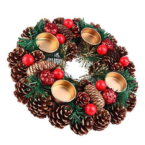 BESPORTBLE 27Cm Weihnachten Advent Kranz Tannenzapfen Kranz mit Beeren Advent Kränze Ring Votiv Kerzenhalter Saison Kerzenhalter Weihnachten Tisch Herzstück Desktop-Dekoration