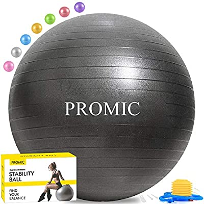 PROMIC Exercise Ball (45-85cm) with Quick Foot Pump, Professional Grade Anti Burst & Slip Resistant Balance Ball for Yoga, Balance, Workout, Fitness, Use for a Work Chair (8 Colors)