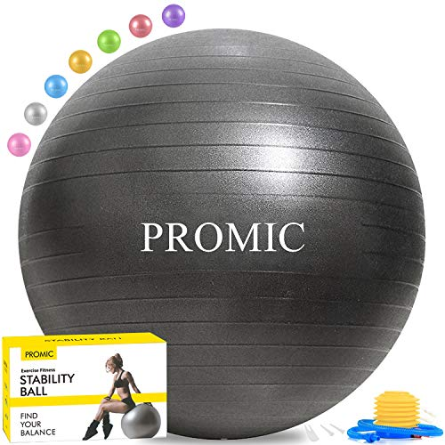 PROMIC Exercise Ball (65 cm) with Foot Pump, Professional Grade Anti Burst & Slip Resistant Stability Balance Yoga Ball for Yoga, Workout, Cardio Drumming, Classroom, Work Ball Chair (Black)
