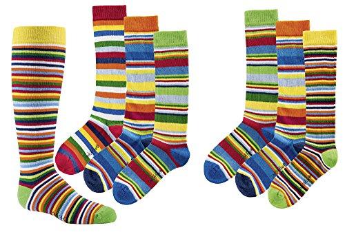 TippTexx 24 6 Paar Kinder Kniestrümpfe in verschiedene Mustern(Gute Laune Ringel,3-4 Jahre)