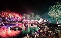 自然風景アートキャンバスプリントポスター、家の壁の装飾ポスター(オーストラリア、シドニー、ベイ、美しい花火、夜)75x50cm