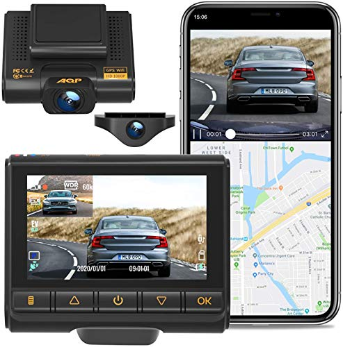 AQP Dual Dash Cam, Front and Rear for Cars Full HD 1080P Car Camera, Dashcam Support GPS & WiFi, Sony Sensor, 170°/ 150°Wide Angle, 3 inch IPS Screen, G-Sensor, WDR, Cycle Recording