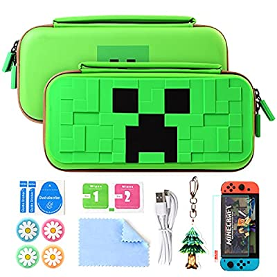 UFOPETIE Carrying Case for Minecraft Nintendo Switch Case for Nintendo Switch with Minecraft & Switch Minecraft Games Card,Game Garage for Adults and Kids on Creator Nintendo Switch Modded Games Gift
