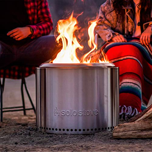 Solo Stove Bonfire Fire Pit - Large 19.5 Inch Stainless Steel Outdoor Smokeless Firepit | Portable Backyard Natural Wood Burning Firebowl | No Gas or Propane Required