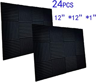 "24 Pack Black Acoustic Panels Studio Foam Wedges 1"" X 12"" X 12"" Sound-proofing,Sound Absorption (24pcs, Black)"