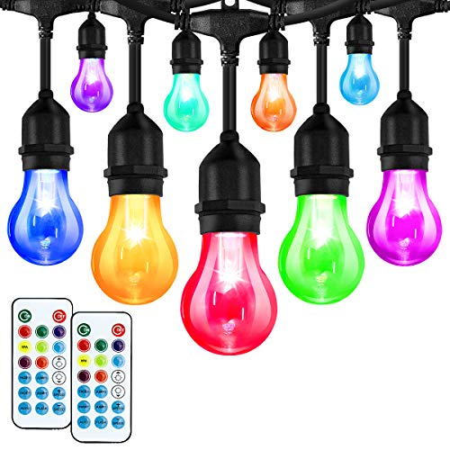 Elfeland LED Outdoor String Lights 48FT RGB Color Changing String Lights Dimmable Hanging Lights Patio Lights Backyard Lights Party Lights with 15Pcs Shatterproof LED Bulb & 2 Remote Controls