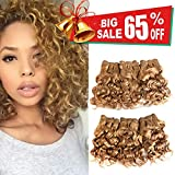 VIOLET Hair Brazilian Human Hair Short Curly Weave 6 Bundles with Closure 8A 100% Unprocessed Brazilian Virgin Hair Deep Curly Weave Hair Bundles Blonde Color(8 Inch)