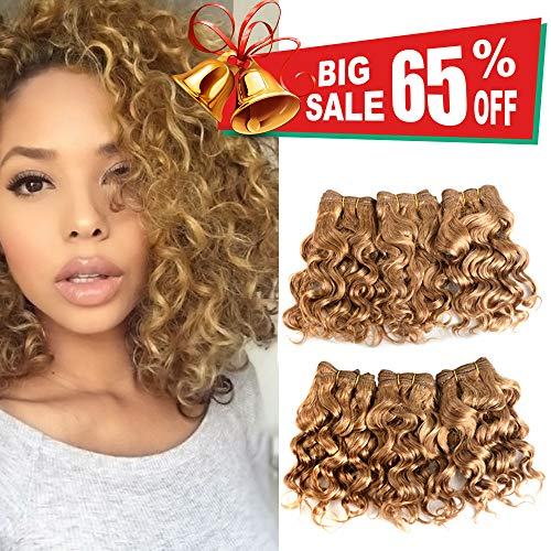 VIOLET Hair Brazilian Human Hair Short Curly Weave Hair Bundles with Closure 8A 100% Unprocessed Brazilian Virgin Hair Deep Curly Weave Hair Bundles Chocolate Blonde Color(8 Inch)
