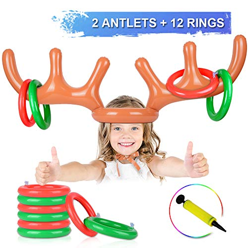 AniSqui 2 Set Aufblasbares Rentiergeweih-Spiel, (2 aufblasbares Geweih, 12-Ring-Rentier-Ringwurf) Aufblasbarer Rentier-Geweihhut mit Ringen, Familien-Weihnachtsparty-Spiele
