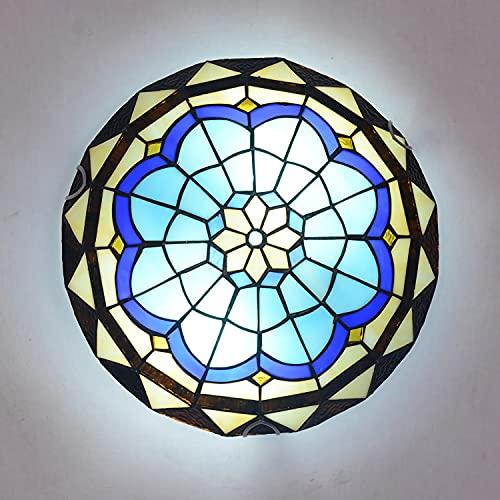 Lámpara de Techo LED Retro, Plafón Techo LED Estilo Tiffany para Dormitorio Sala de Estar Vintage E27 con Pantalla Redonda de Vitrales, Lámpara Colgante para Comedor, Cocina, Pasillo,40cm