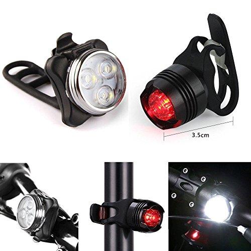 kashyk Fahrrad-Rückleuchten & Vorne Lampe Set,zugelassen nach StVZO USB Wiederaufladbare Frontlicht und Rücklicht Fahrradlampe Set, 3 Licht-Modi, Fahrradlicht Fahrradlampe Fahrradleuchte