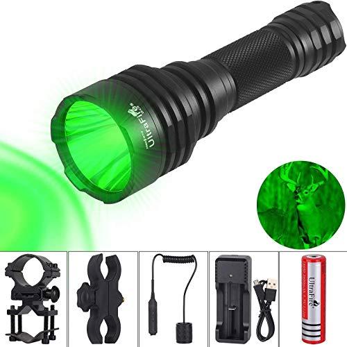 UltraFire Linterna LED verde 430 yard 525 nm táctica de caza, incluye batería 18650 y cargador, 2 soportes, interruptor trasero, caja de regalo, G-C8