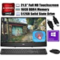 """2020 Latest Dell Inspiron 22 3000 All in one Desktop Computer AMD Core A6-9225 21.5""""FHD Touchscreen 16GB DDR4 512GB SSD Keyboard Mouse AMD Radeon Graphics HDMI WiFi Win 10 Pro + iCarp HDMI Cable"""