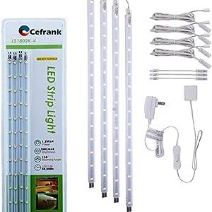 Luces LED para Vitrinas, Juego de 4 barras de luz, Blanca Fría de 6000 K.