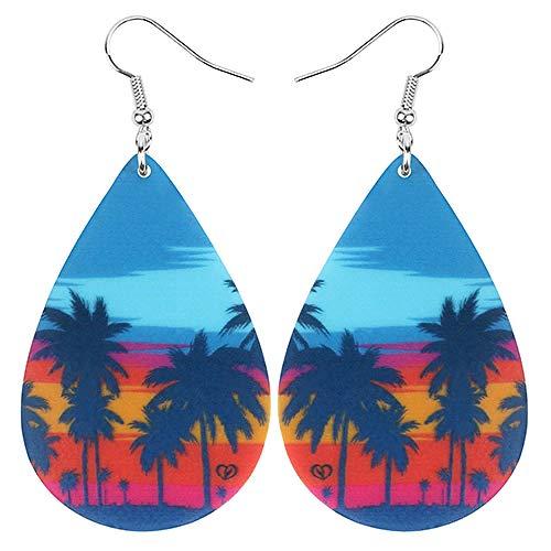 Pendientes de árbol de Coco de lágrima acrílica Colgante Colgante decoración joyería para Mujeres niñas Adolescentes Fiesta Encanto Multicolor