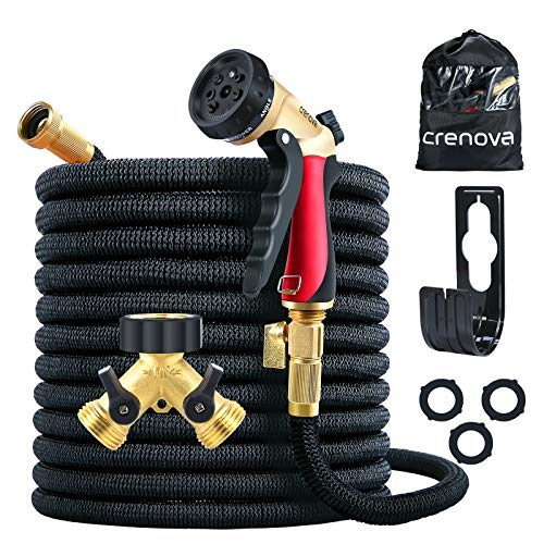 Crenova Garden Hose 100ft Expandable Water Hose with 7 Function Spray Nozzle, Brass Hose Splitter, Extra Strength Fabric, 3/4 Solid Brass Connector 4-Layer Latex Tube Lightweight Flexible Hose Pipe