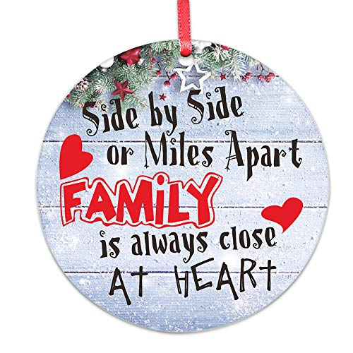 WaaHome Side by Side Or Miles Apart Family is Always Close at Heart Christmas Ornaments Christmas Tree Decorations Gifts