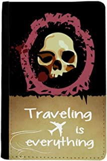 Realistic Round Skull Halloween Traveling quato Passport Holder Travel Wallet Cover Case Card Purse