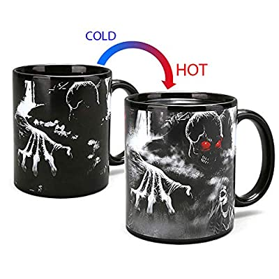 Color Changing Thermometer Heat Changing Mug Magic Sensitive Porcelain Coffee Cup - 10 OZ