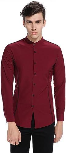 Hommes en Chemise à Manches Longues, personnalité Boîte Man Henry Code européen des Chemises à col,Un Bordeaux,l