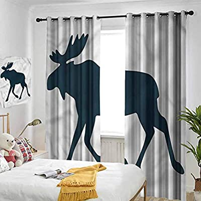 SUZM Moose Blackout Curtain, Panel Curtain Wild Canadian Deer Pattern Soundproof Curtains in The Nursery Room, W84 x L84 Inch