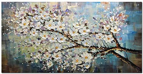 Óleo Pintura Flor de Ciruelo Cuadros Decorativos Sobre lienzo , Pintura con espátula Árbol de Flore Totalmente Pintada mano Pared 3D...