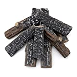 Skyflame 8 Small Piece Set of Ceramic Wood Logs and Accessories for All Types of Indoor Gas Inserts, Ventless & Vent Free, Propane, Gel, Ethanol, Electric or Outdoor Fireplaces & Fire Pits