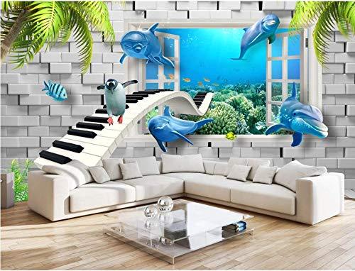 YFXGSTLI Foto Mural Pared 3D Niños, Mural Pared Infantil, Papel Pintado Fotográficomoderno Mundo Submarino Creativo Habitación para Niños Fondo 3D Pared-W200xH140cm