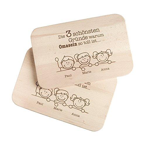 Casa Vivente Frühstücksbrettchen mit Gravur – 2er Set – Gute Gründe Oma und Opa – Personalisiert mit Namen – Brotbretter aus hellem Holz – Geschenkidee für Großeltern – Geburtstagsgeschenk
