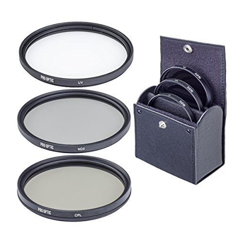 ProOptic 46mm Digital Essentials Filter Kit, with Ultra Violet (UV), Circular Polarizer (CPL) and Neutral Density 2 (ND2) Filters, with Case