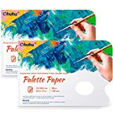 Disposable Palette Painting Pad, 8.3'x12' Ohuhu 2 Pack 68LB/105GSM Disposable Palette Paper Pad with Thumb Hole for Mixing Acrylic Paint Oils Watercolors Caseins Paint Mixing Palette
