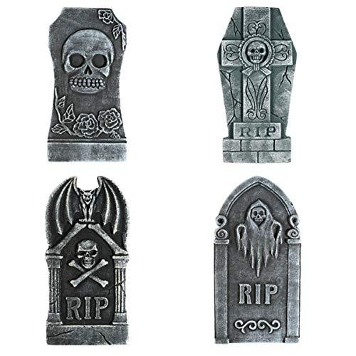 TOYANDONA 4 Piezas de 16'lápidas sepulcrales Rip de Espuma para Halloween, lápida Ligera Rip con 8 estacas de Metal para decoración de Halloween