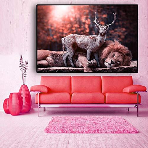 N / A Wald Hirsch und Löwe Landschaft Tier Leinwand Malerei Plakate und Drucke Wohnzimmer Wandbild rahmenlose Malerei 40cmX60cm