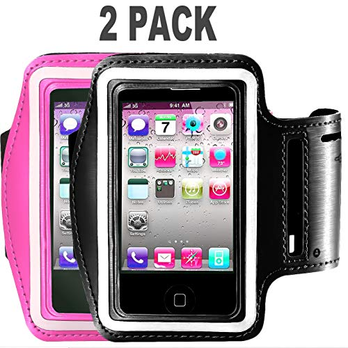 [2pack]Armband Phone Case For iPhone X XS XR MAX 8 7 6 6S Plus,Galaxy s9 s8 s7 s6 Note 8 5 [Water Resistant] CaseHQ Sports Exercise Running workout reflective Pouch reflective Key Holder (black+pink)