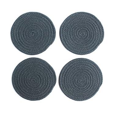 7  Diameter Round Fabric Trivets,Set of 4 Woven Heat Resistant Hot Pads,Dark Gray,Honla
