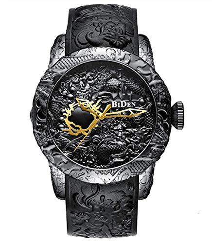Moda para Hombre Big Dial 3D Sculpture Dragon Watches Relojes de Cuarzo para Hombres Reloj Creativo Exquisito, Negro