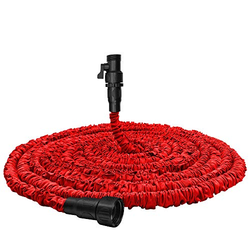 """Garden Hose, Water Hose, Upgraded 75ft Flexible Pocket Expandable Garden Hose with 3/4""""Fittings, Triple-layer Core, Flexi Expanding Hose useful house gifts for Outdoor Lawn Car Watering Plants Red"""