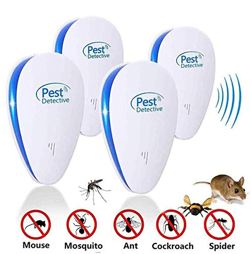 Moonssy Ultraschall Schädlingsbekämpfer Elektronischer Plug-in Pest Mause Repeller Control Indoor Vertreiber von Arten Insekten und Nagetiere wie Maus, Moskito,Kakerlaken,Pest usw(4 Stück)