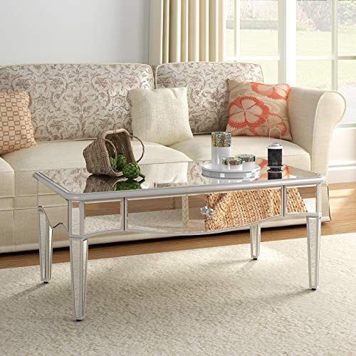 Mirrored Coffee Tables for Living Room - Modern Accent Tea Table Sofa Desk with 1 Drawer Easy Assembly