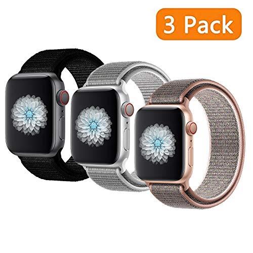 JIALIN, Cinturino di Ricambio in Nylon Traspirante, Compatibile con Apple Watch, 38 mm, 40 mm, 42 mm, 44 mm, Compatibile con iWatch Serie 5, 4, Serie 3, Serie 2, Serie 1, Confezione da 3, 38mm(40mm)