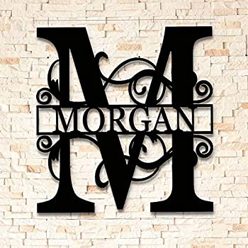 Split Letter Metal Monogram - Custom Last Name Sign - Split Letter Name Sign - Personalized Last Name Sign - Metal Family Name Sign - Door Hanger - Outdoor Metal Sign - Wedding Gift