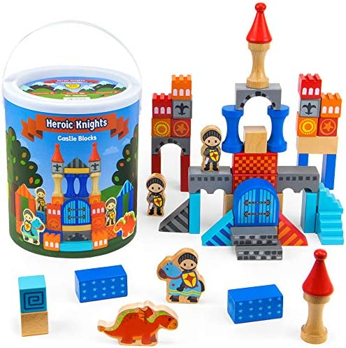 Knight s Castle Building Blocks Drum Wooden Stacking Blocks Set in Sturdy Travel Case Educational product image